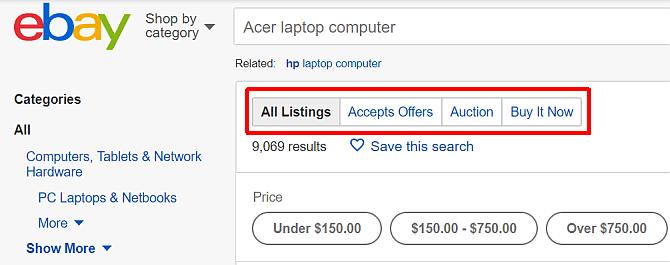 جستجو کالا برای خرید در ای بی (eBay)