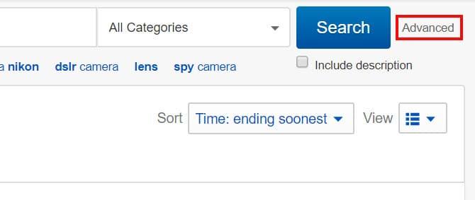 جستجو پیشرفته ای بی (eBay)
