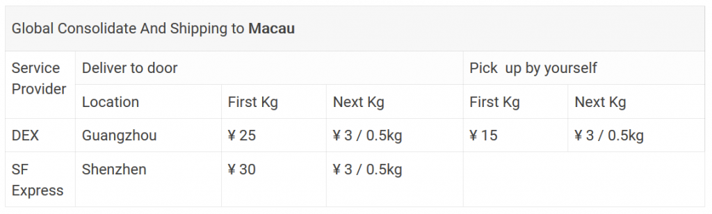 هزینه های حمل و نقل به ماکائو