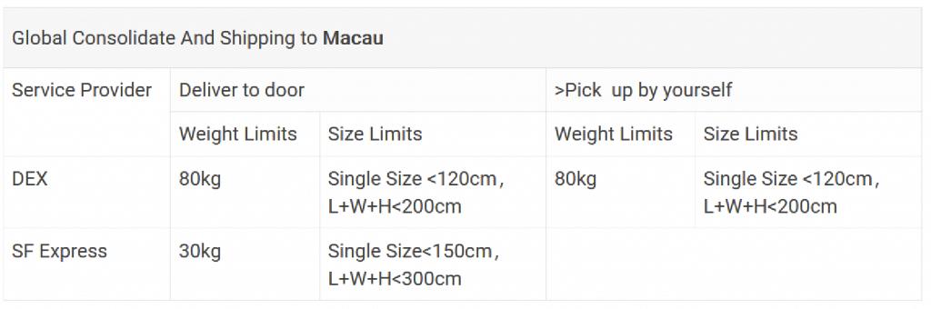 حجم و اندازه در ارسال به ماکائو