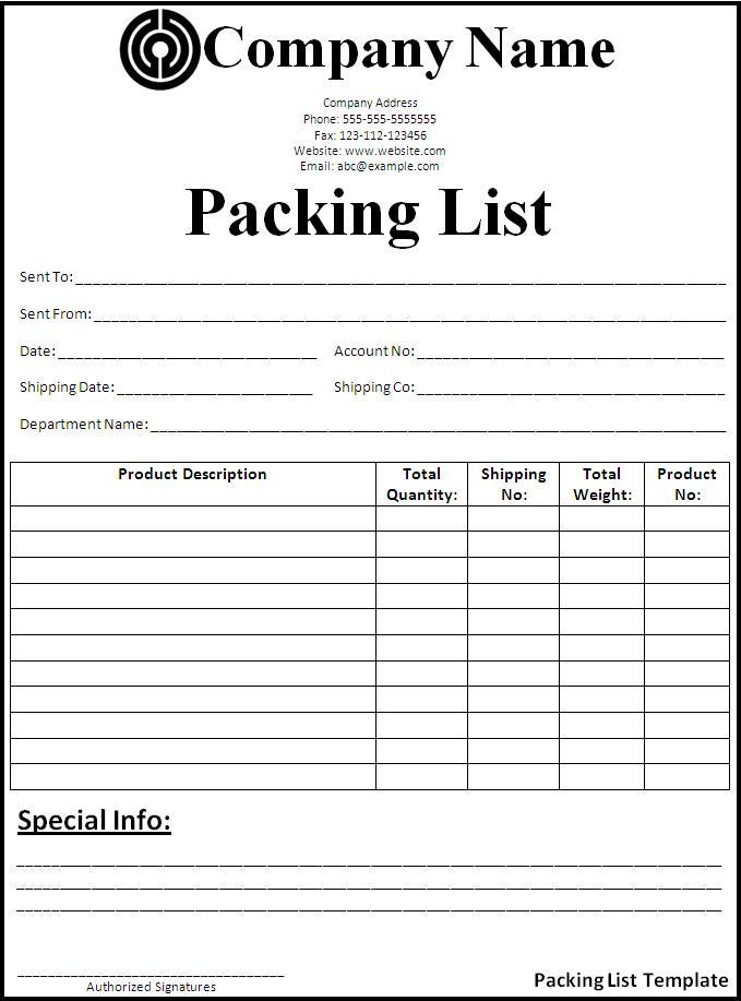 نمونه لیست بسته بندی